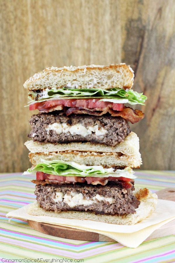 Feta Stuffed BLT Burgers'