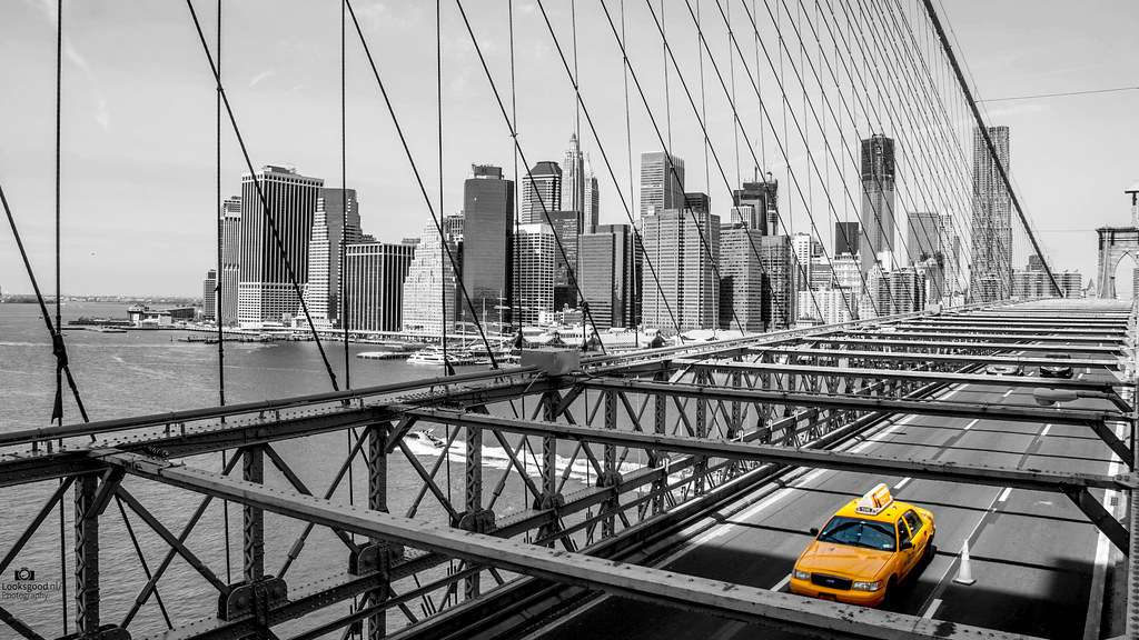 New York Brooklyn Bridge Yellow Cab Black And White 4k Flickr