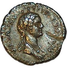Silver denarius of Diva Domitilla