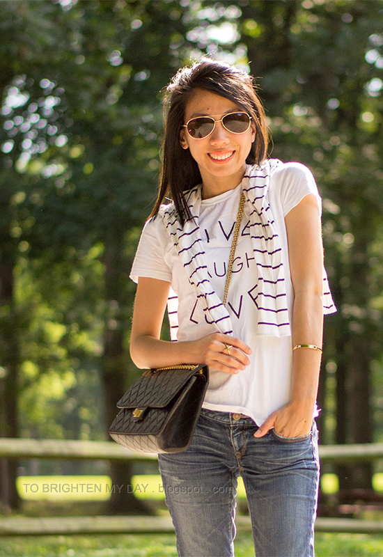 graphic tee, striped top, crossbody bag