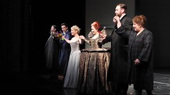 The cast accepting the applause after the last performance of Maria Stuarda at the Royal Opera House on 17 July 2014