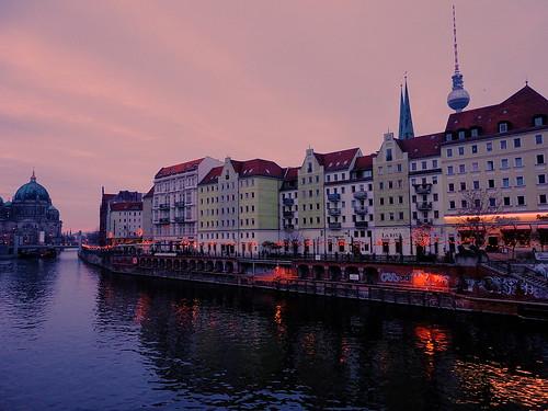 city sunset berlin river capital landscap urbanarte