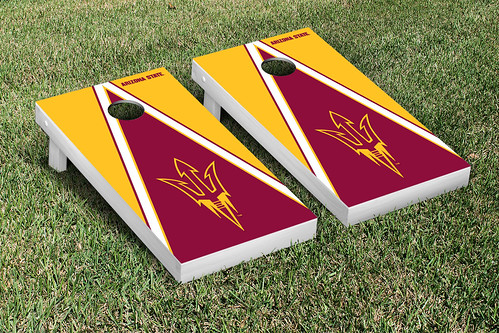 Arizona State ASU Sun Devils Cornhole Game Set Triangle V1