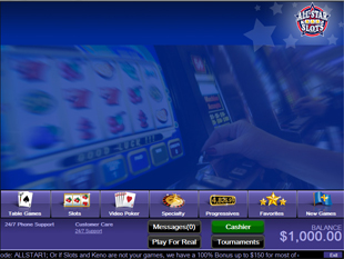 All Star Slots Casino Lobby