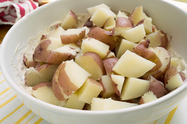 potato cubes in dressing