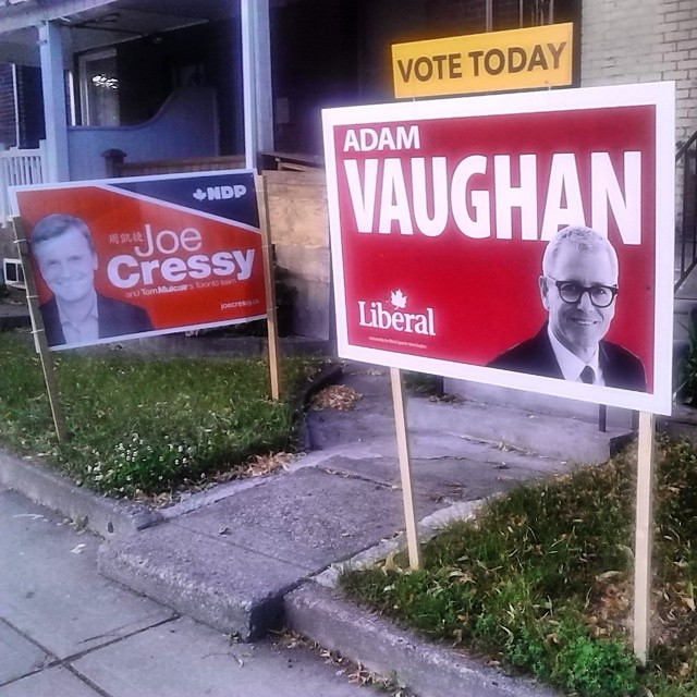 Plenty of dueling campaign signs for Adam Vaughan and Joe Cressy tonight on the western periphery of Trinity-Spadina tonight.