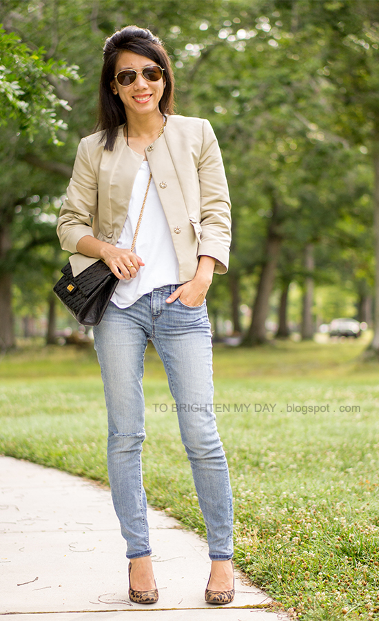 bow cropped jacket, distressed jeans, leopard pump