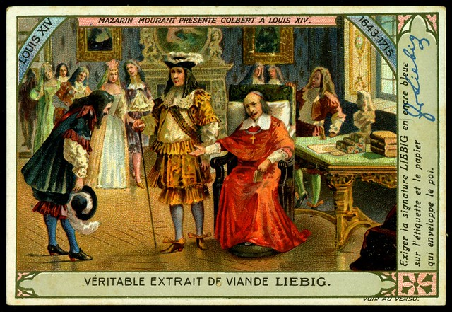 Liebig Tradecard S1007 - Colbert, Mourant and Louis XIV