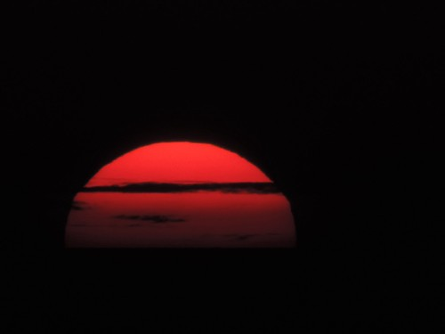 Setting sun up close