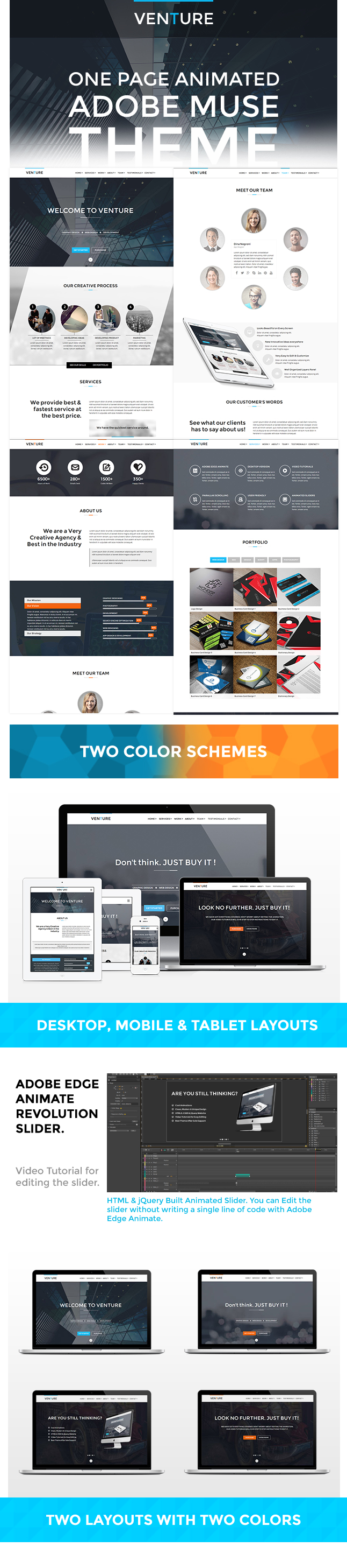 Venture: One Page Animated Muse Template
