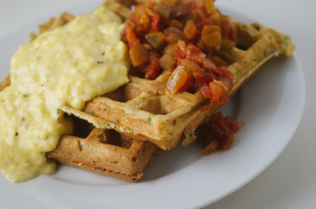 savory waffles with salsa and creamy eggs