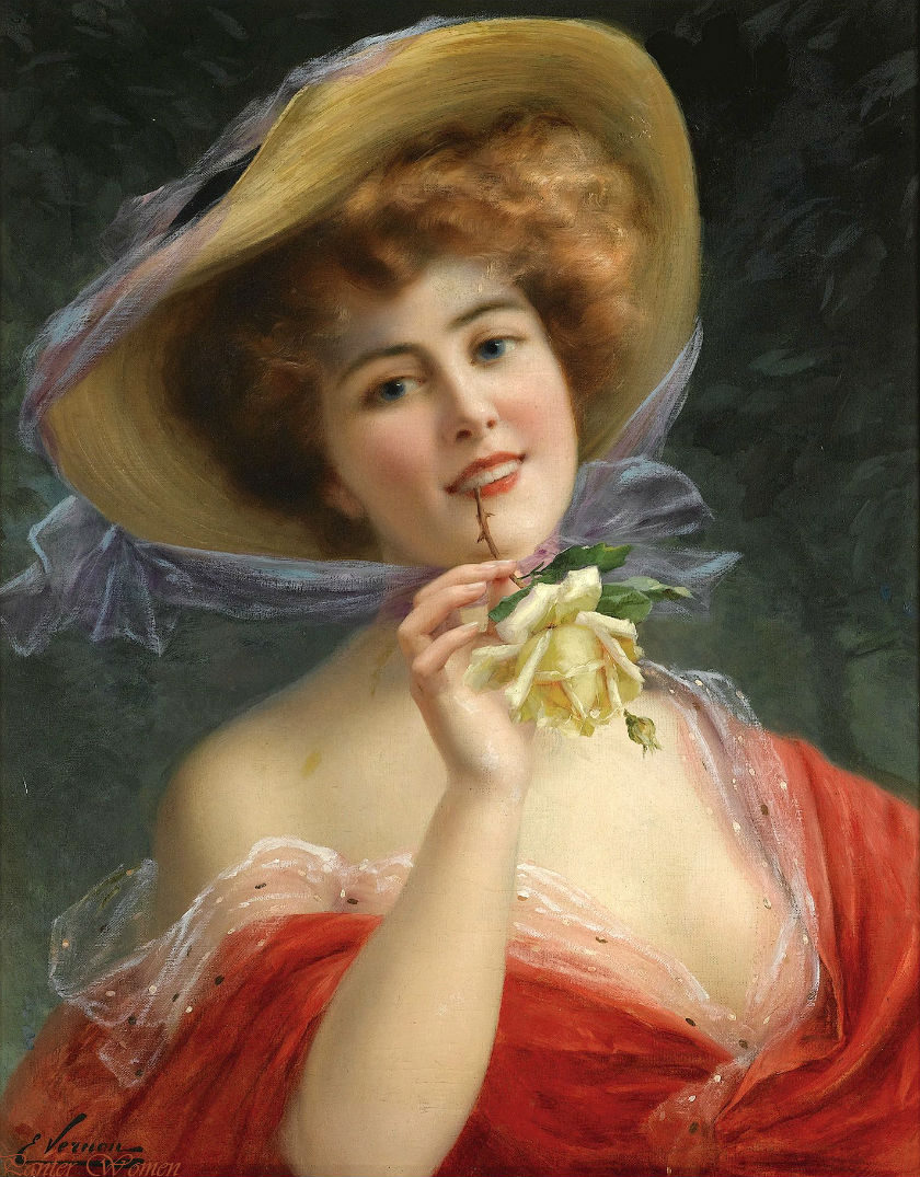 Young Girl with a Rose by Emile Vernon