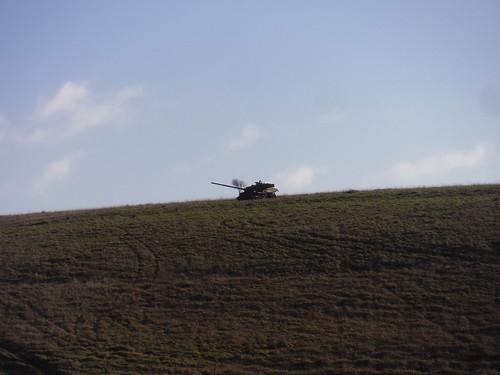 Imber Range, Disused Tank on Hillside
