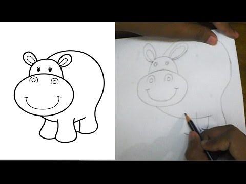 , Hippopotamus || How to Draw a Cartoon Hippo For Kids, My cartoon Blog, My cartoon Blog