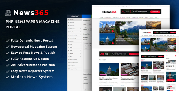 News365 v1.5 - PHP Newspaper Script Magazine Blog with Video Newspaper