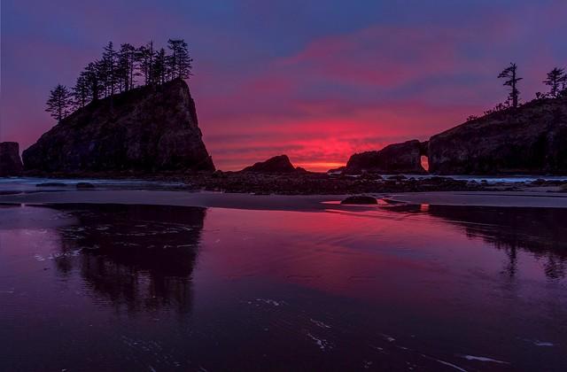 Dramatic Sunset at Second Beach, La Push, WA