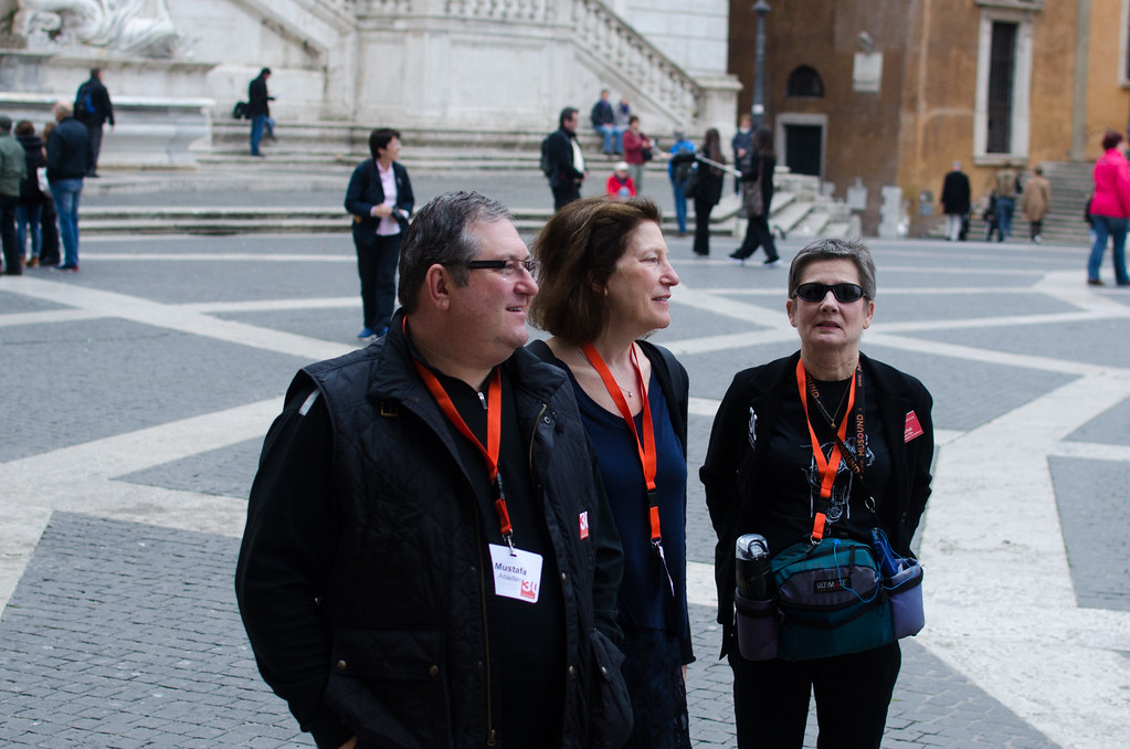 From left, AAP Advisory Council member Mustafa K. Abadan (B.Arch. '82), Associate Professor Andrea Simitch, and Lyn Pohl at the Campidoglio.  photo / Maddy Eggers (B.Arch. '19)