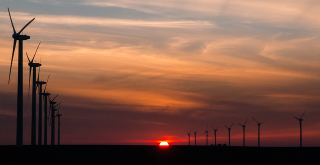 Sunset on the wind farm