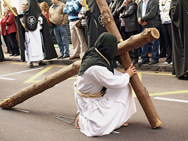 Carrying the Cross, Magna Procession, Semana Santa, La Laguna, Tenerife