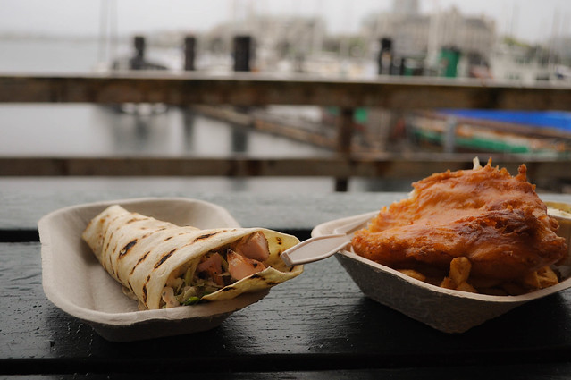 fish and chips on the boardwalk in the rain