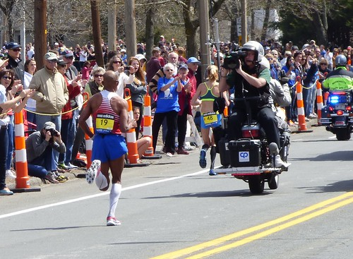 Eventual winner Meb Keflezighi far ahead of the pack
