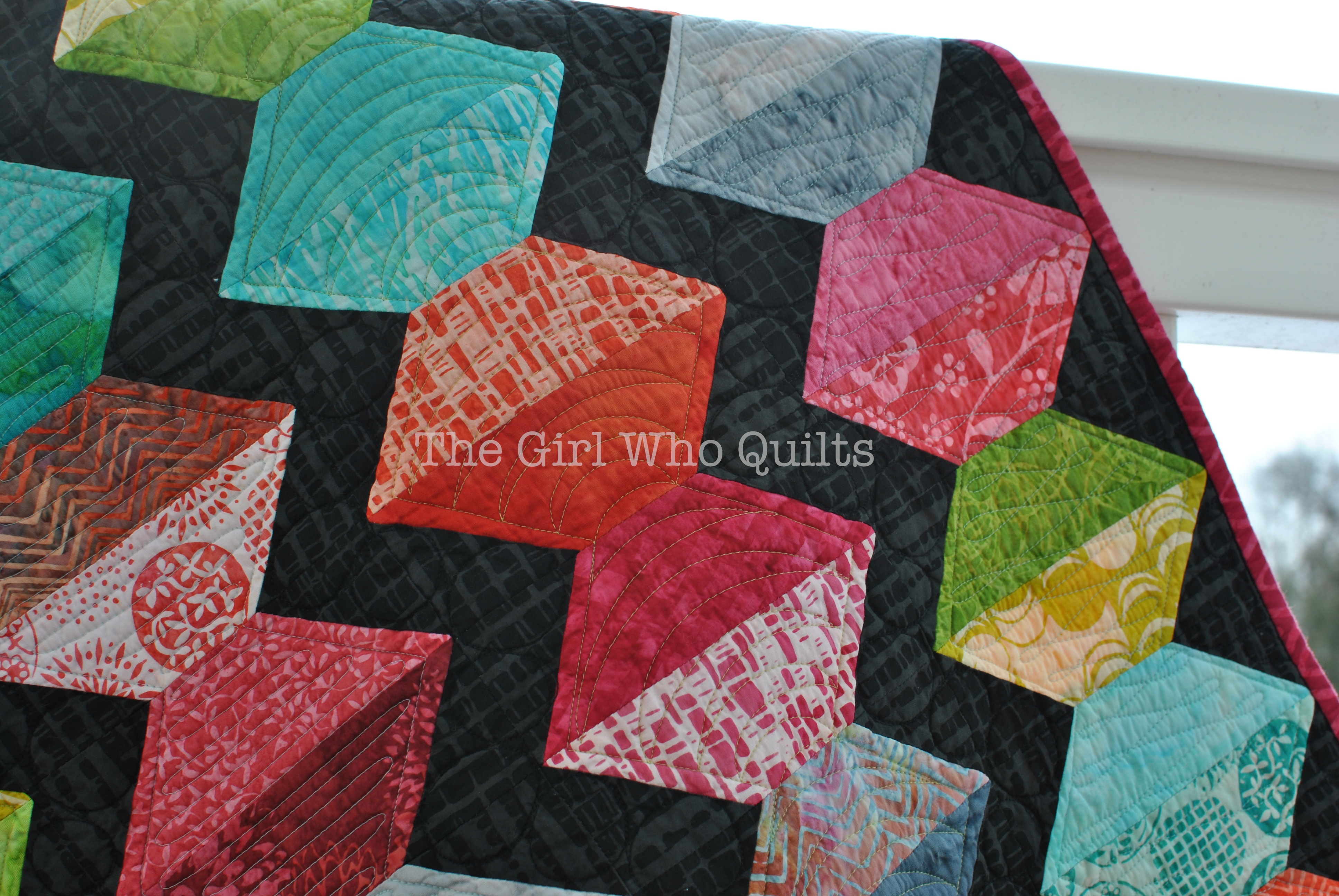 Paper Lanterns Quilt in batiks