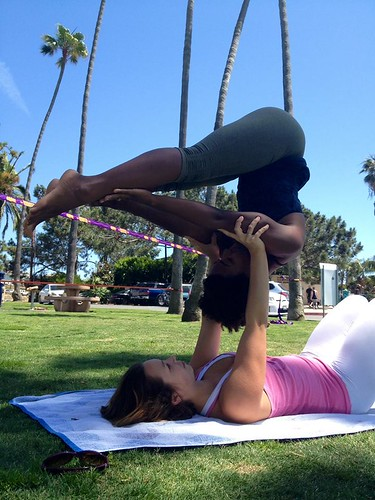 julie and I acro yoga