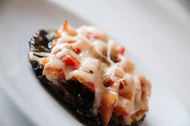 pesto-bruschetta grilled portobello mushroom caps