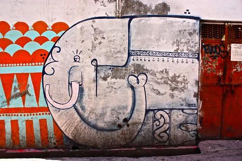 elephant street art in Udaipur