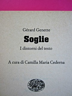 Soglie, di Gérard Genette. Einaudi 1989. Responsabilità grafica non indicata [Munari]. Frontespizio (part.), 1