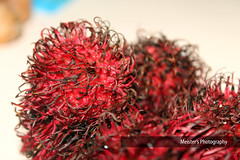flower(0.0), branch(0.0), tree(0.0), plant(0.0), rambutan(1.0), red(1.0), macro photography(1.0), flora(1.0), produce(1.0), fruit(1.0), food(1.0),