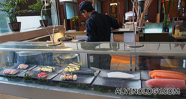 Sushi and sashimi counter