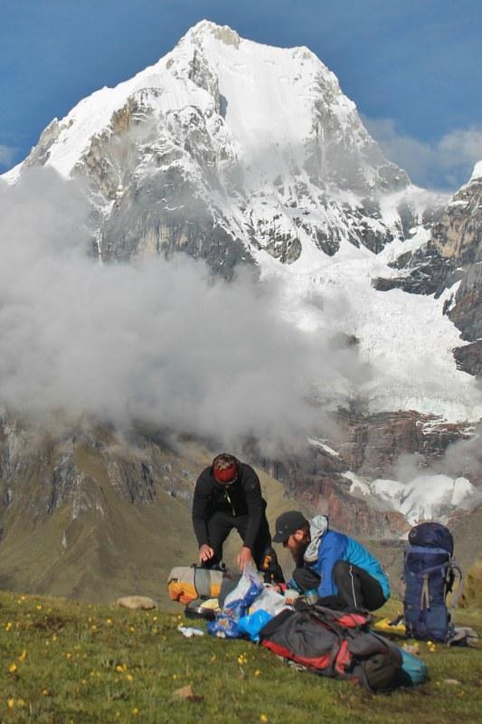 Packing up camp, below Yerupaja.
