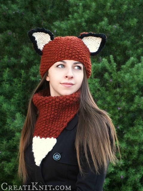Animal Cowl Knitting Pattern : Teen/Adult Fox Hat & Cowl Set Knitting Pattern Flickr - Photo Sharing!