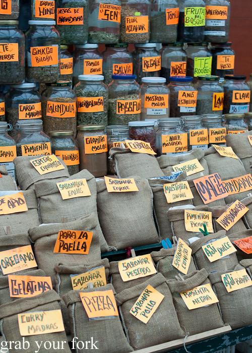 Spice shop at Mercado de Abastos farmers market in Santiago de Compostela, Spain