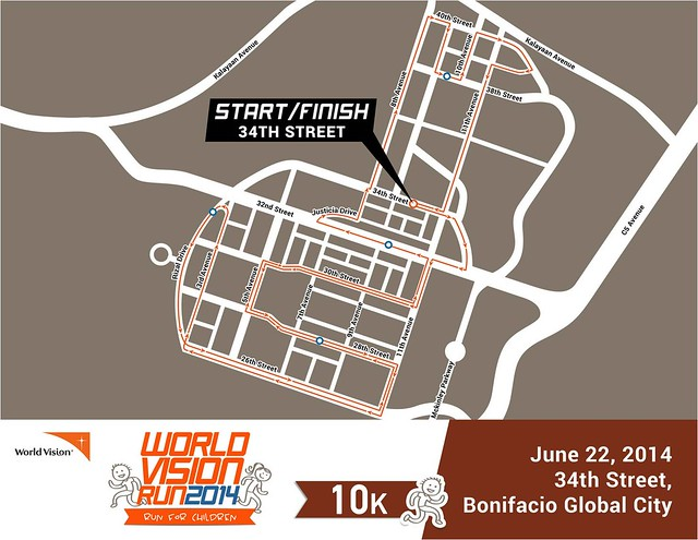 World Vision Run 2014 10k race map