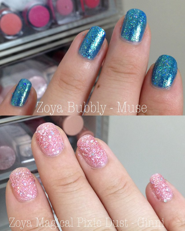 beauty, zoya, nails, polish, varnish, lacquer, bubbly, tickled, pixie dust, must, ginni, review,
