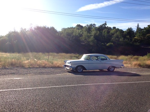 White Chevy Bel-Air coupe by lucky_clover