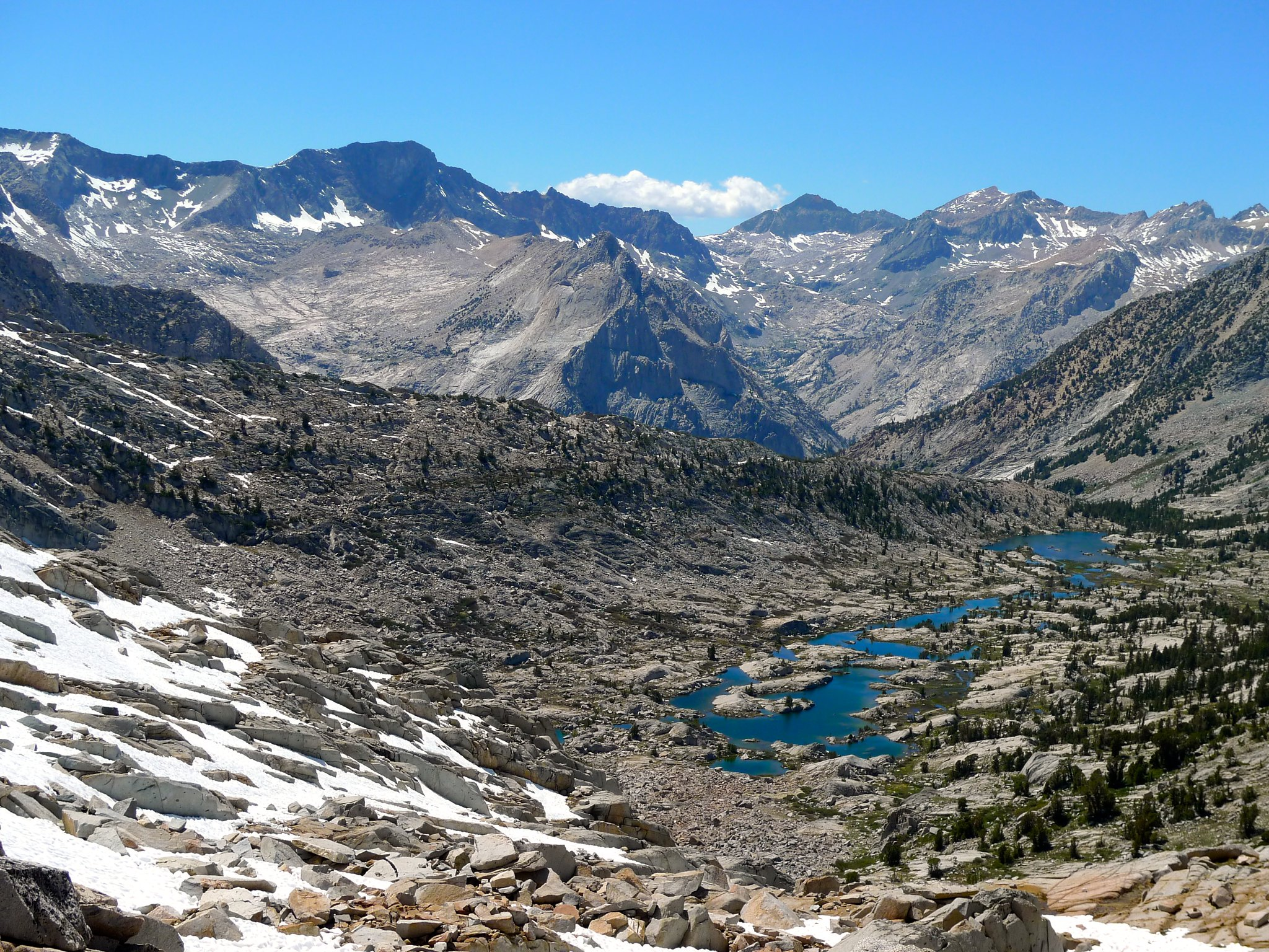 Lower Dusy Basin and peaks across Le Conte Canyon from Knapsack Pass