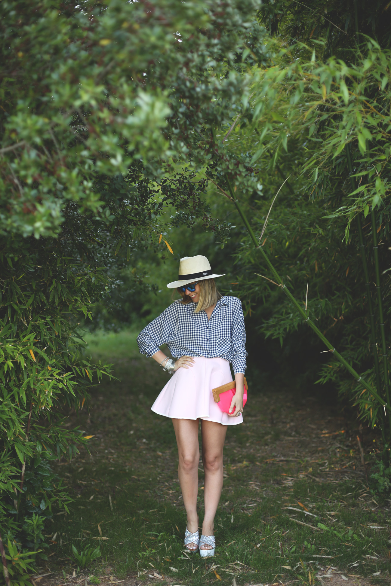 hat, skirt, baby pink, shirt, wedges, glitter, neoprene skirt, plaid, spring look, outfit, fashion
