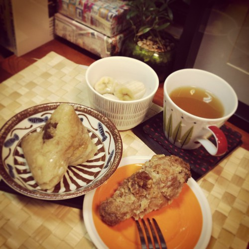 Zongzi, fried chicken, banana, green tea