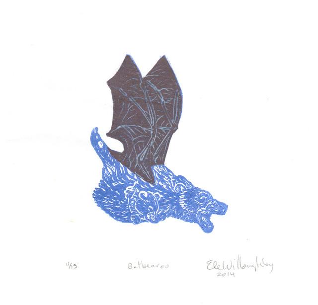 Batbearoo linocut