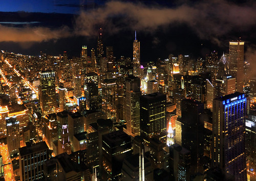 city chicago skyline night clouds buildings landscape lights skyscrapers skydeck 110th seartower 110thfloor willistower