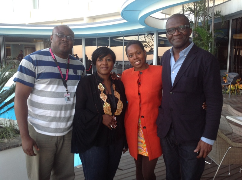 L-R Ikenna Ezenyirioha, Festival Manager_ Afie Braimoh, Project Director_ South African actress XolileTshabalala and Keith Shiri, Artistic Director, at Durban International Film Festival