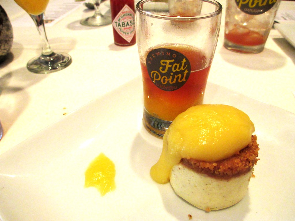 House Made Vanilla Bean Cheesecake, Orange Curd, served with a Pirate Stash Mango Beer Float - Fat Point Brewing Beer Brunch at Opus Restaurant, Punta Gorda, Fla., June 29, 2014