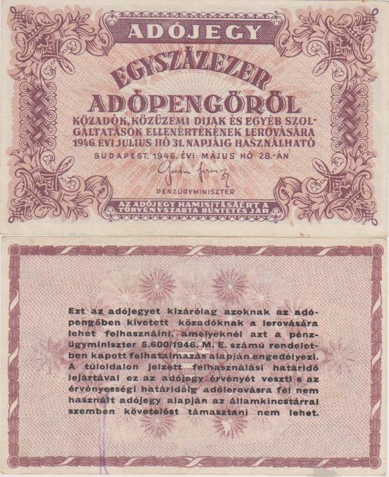 100 000 Adópengő Maďarsko 1946, Pick 144