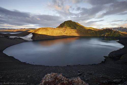 sunset landscape iceland natuur landschap isl landmannalaugar suðurland ijsland fjallabak hnausapollur