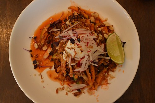 Fleetwood Macchiato: Braised free range pork, house-made apple kimchi, poached egg, peanuts, fried shallots, lime, toast