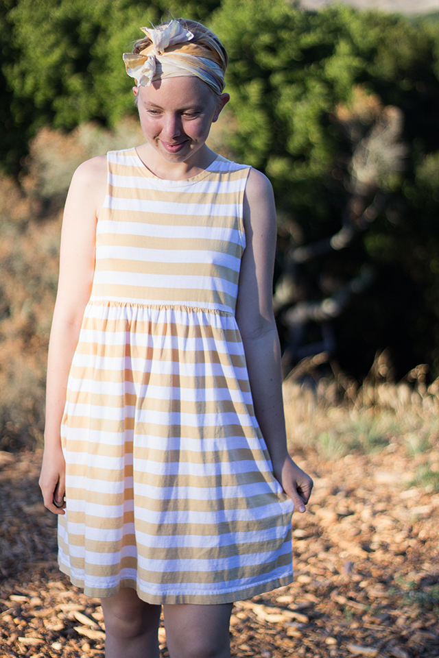 yellow headscarf, yellow striped sundress