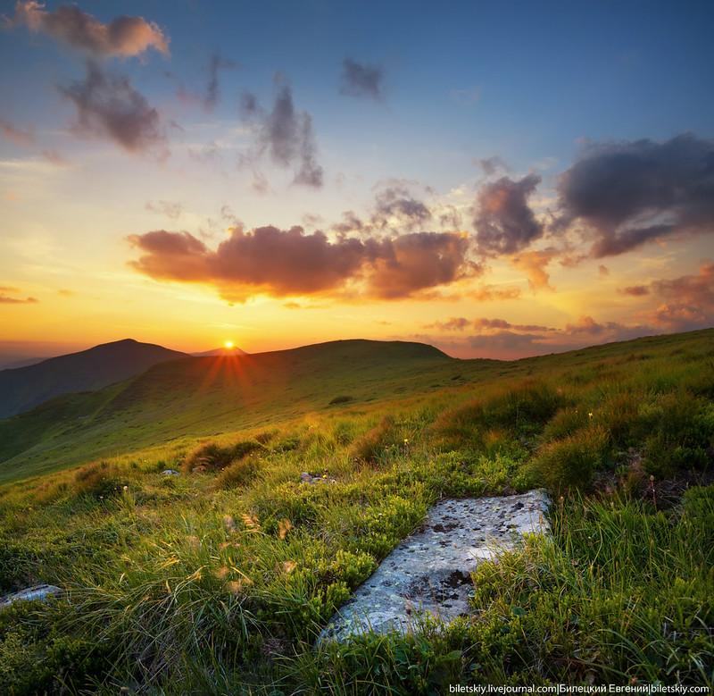 Carpathians mountains sundown